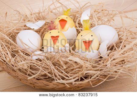 Easter Egg Chicks In A Basket