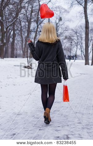 Winter Girl With A Bag