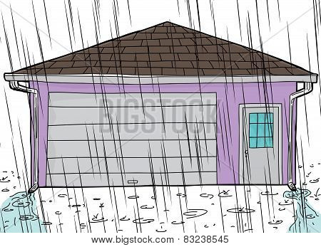 Garage With Rain And Spouts