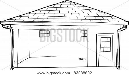 Empty Outlined Garage Cartoon