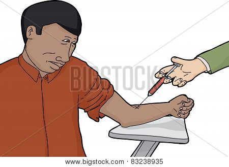 Isolated Nervous Man Getting Test