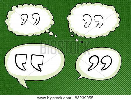 Quote Mark Symbols Over Green