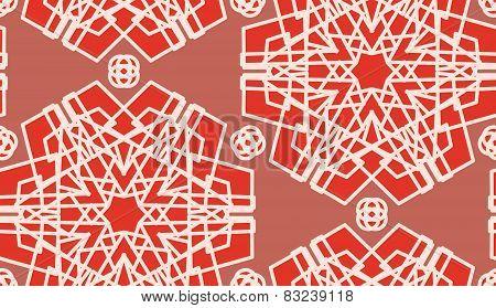 Seamless Scarlet Geometric Shapes
