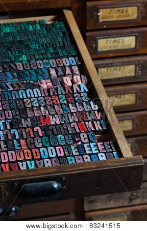 Old Vintage Printing Press Letters.