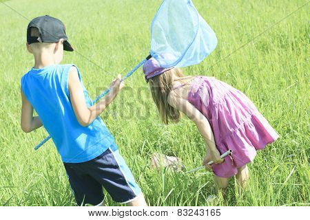 A child who try to catch some butterfly with net.