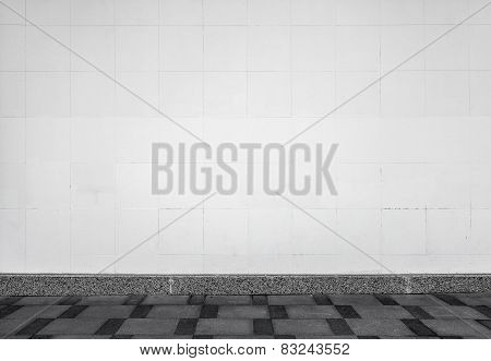 Urban Background Interior With White Tiling On The Wall