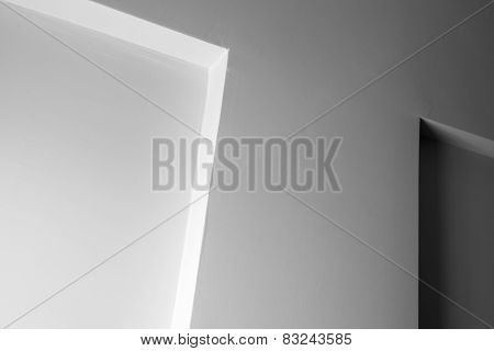 Abstract Architecture, White Wall With Decoration