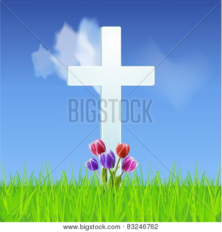 Easter Background With Cross And Tulips On A Blue Sky