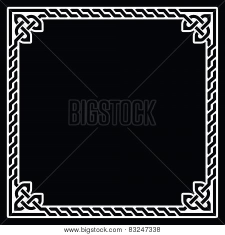 Celtic frame, border white pattern on black