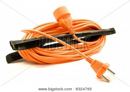 An orange extension cord
