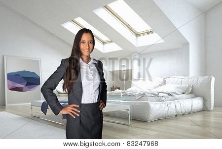Close up Young Business Woman in Black and White Office Attire Standing at the Architectural White Lounge Room. 3D Rendering