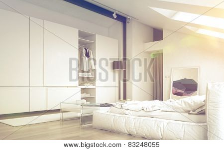 3D Rendering of Close up Illuminated Architectural White Bedroom Design with Elegant White Furniture