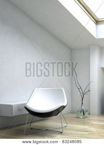 3D Rendering of Close up White Elegant Lounge Chair Beside Small Cabinet Inside an Architectural White Room