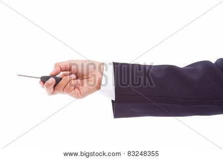 Businessman holding car key