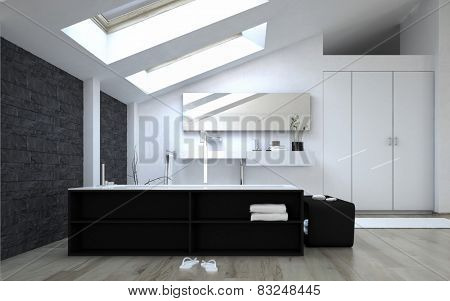3D Rendering of Interior of Black and White Modern Bathroom with Sunny Skylights