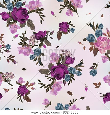 Seamless Floral Pattern With Purple And Pink Roses And Freesia, Watercolor