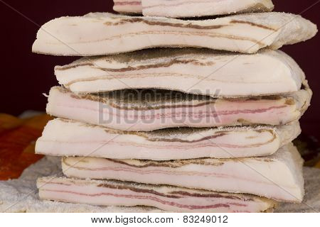 salted lard stacked