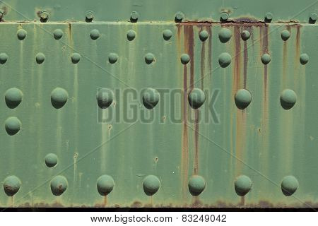 Rusty green metal plate