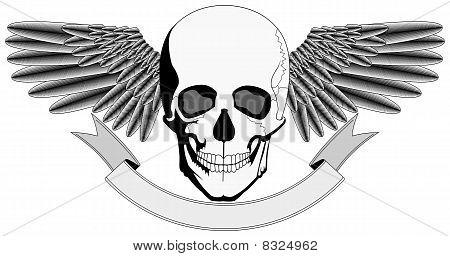 Winged Human Skull logo