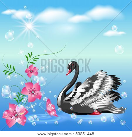 Swan And  Flowers