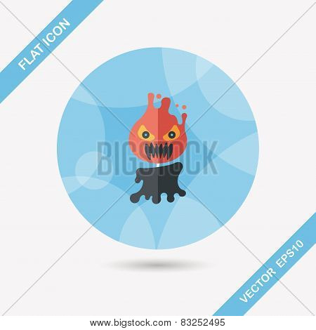 Halloween Flame Devil Flat Icon With Long Shadow,eps10