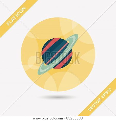 Space Planet Flat Icon With Long Shadow,eps10