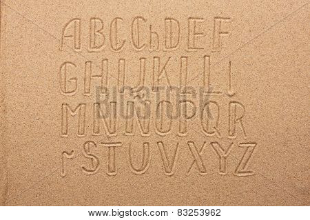 Spain Alphabet  Written On The Sand