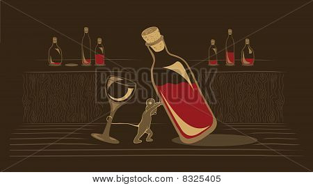 Mouse Dragging An Old Wine Bottle