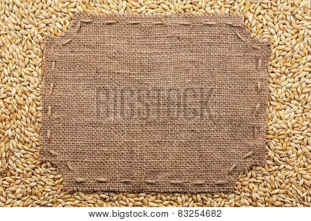 Figured Frame With Burlap And Stitches With  Place For Your Text Lying  On  Barley  Grains