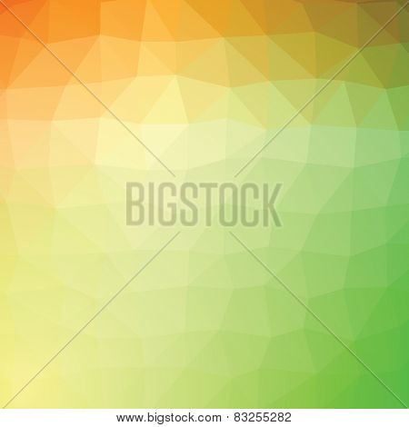 Geometric abstract green and yellow low-poly paper background.  with transparency.