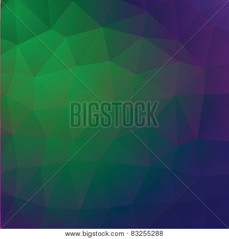 Geometric abstract green and violet low-poly paper background. Vector  with transparency.