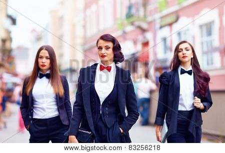 Gorgeous Women In Black Walking The City Street