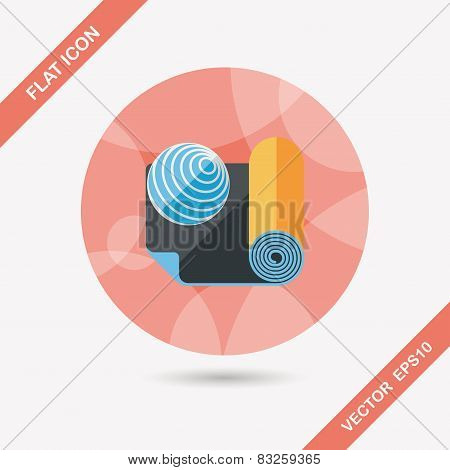 Yoga Mat And Ball Flat Icon With Long Shadow,eps10