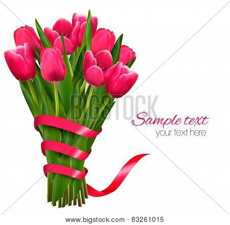 Holiday Background With Bouquet Of Pink Flowers And Ribbons. Vector Illustration