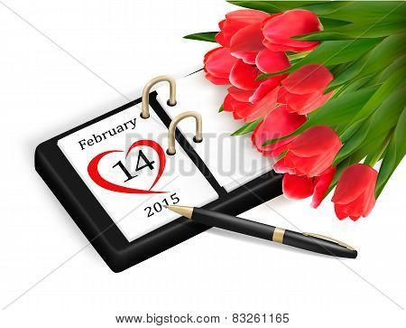 Valentine's Day Calendar. February 14 Of Saint Valentines Day.