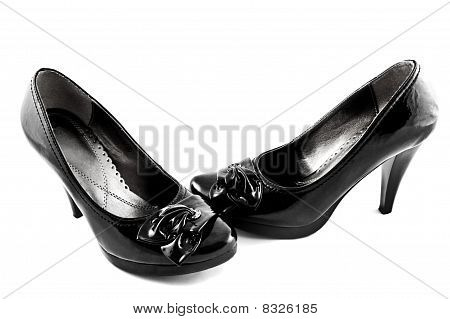 black shoes on white background isolated