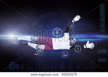 Goalkeeper in white making a save against blue dots on black background