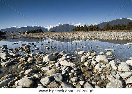 Fox Glacier Reflected in the Fox River