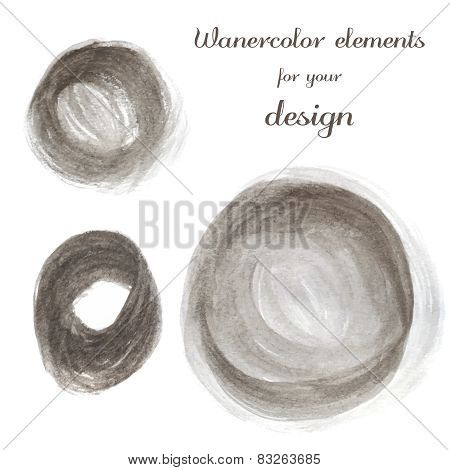 Set of brown spots. Abstract stylish watercolor background.