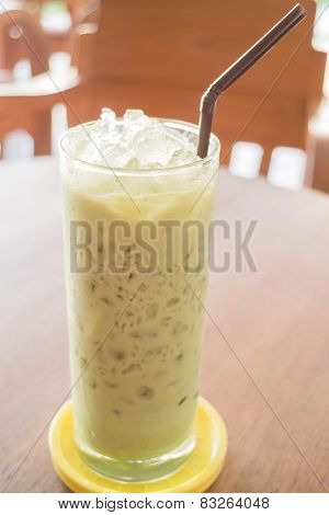 Glass Of Iced Green Tea Latte