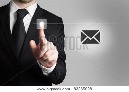 Businessman Pushing Touchscreen Button Mail Symbol