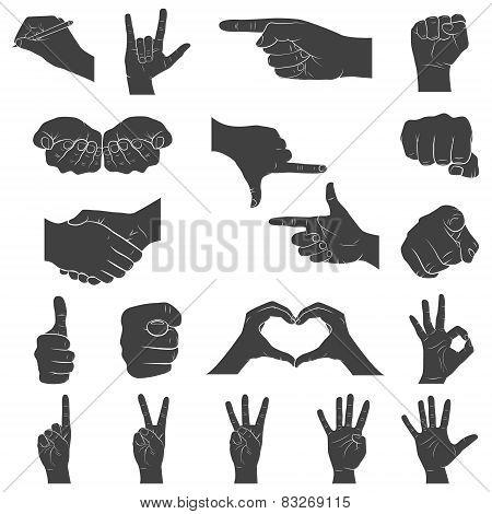 Hands In Different Interpretations. Vector Illustration.