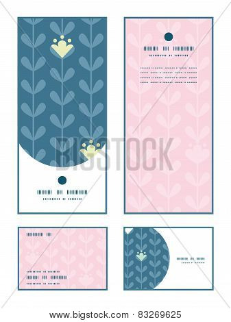 Vector blloming vines stripes vertical frame pattern invitation greeting, RSVP and thank you cards s