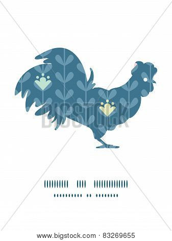 Vector blloming vines stripes rooster silhouette Easter frame