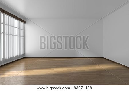 White Empty Room With Flat Walls, Parquet Floor And Window, 3D Illustration