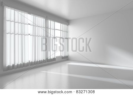 White Empty Room With Flat Walls, White Floor And Window Diagonal View, 3D Illustration