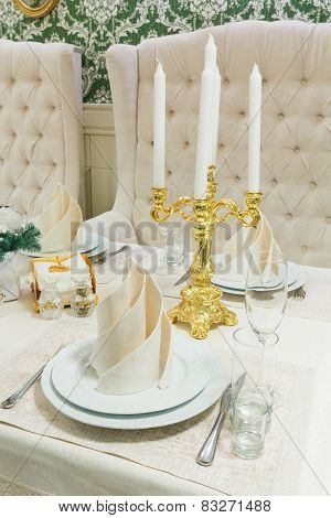 Beautifully Organized Event - Served Banquet Table Closeup