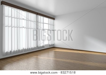 White Empty Room With Flat Walls, Parquet Floor And Window Diagonal View, 3D Illustration