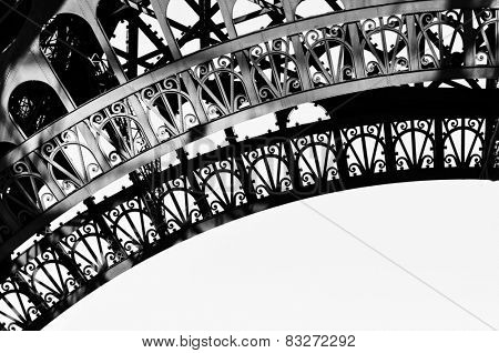Eiffel Tower detail in black and white