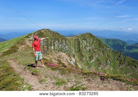 Trekker Walking Flowers Field In Mountain